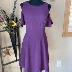 WHBM Plum Cold Shoulder A-Line Dress 4
